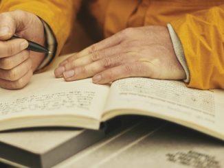 Jemand, der einen Eintrag in ein Tagebuch vornimmt