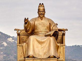 Goldene Statue eines Mönchs
