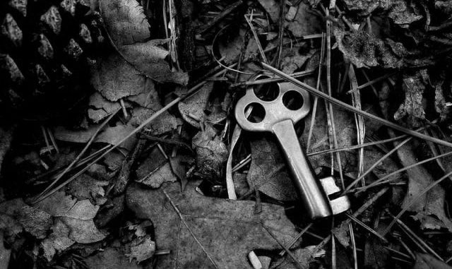 Schlüssel, der im Gras liegt